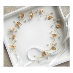 A-HJ-2016FD Golden Fairytale Leafy & White Pearls Headchain