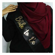 A-SH-003 Black Bride To Be Wording Golden Party Sashes