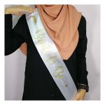 A-SH-012 White Bride To be Gold Cursive wording party Sashes