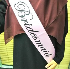 A-SH-008 Pink Bridesmaid Black Wording Party Sashes Fashion Shop