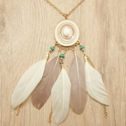 P123127 Brown white feather dreamcatcher long necklace