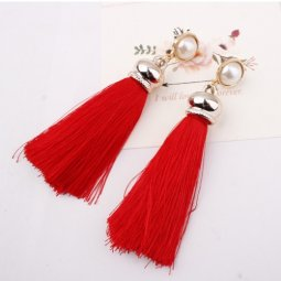 A-SD-EH017red Red Gold White Bead Tassel Earstuds Malaysia