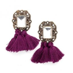 A-SD-XL0790pur Purple Tassel Transparent Crystals Earstuds