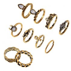 A-H2-106J069 Vintage Beads 10 Midi Rings Set Accessories