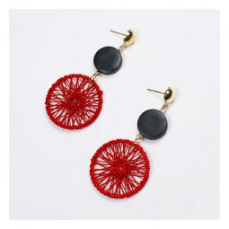 A-FX- E3158 Three Piece Artsy Inspired Red Thread-Like Earrings