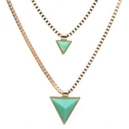 A-CJ-CZ9023 Triangle green 2 layers choker necklace malaysia sho