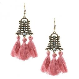 A-HH-HQET-004dustypink Dusty Pink Tassels Bell with Diamond Hook