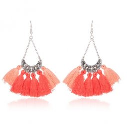 A-KJ-E020272o Orange Pink Crystal Moon Tassel Earrings Wholesale