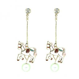 A-LG-ER0561(D) Dreamy Pink Horse Pearl Korean Style Earstuds
