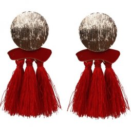 A-SD-EH525red Red Round Charm Bohemian Tassel Earstuds