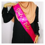 A-SH-013 Hotpink Bride Tribe Cursive Gold Wording Party Sashes