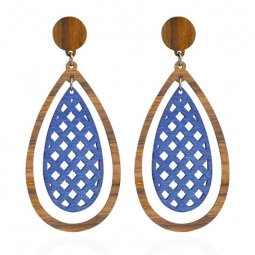 A-HY-E407 Wooden Texture Doube Layer Oval Shaped Earstud Style