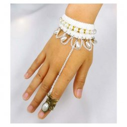 A-Tattoo-003 White Lace Pearl Studded Linked Pearl Ring Bracelet