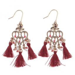 A-DW-HQE579 Antique Danglings Beads Marron Tassel Hook Earrings