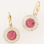 C110604272 PInk crystals round bead korean clip earstuds
