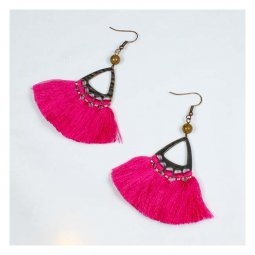 A-HH-HQEF1240pink Bright Pink Tassel Tropika Style Hook Earrings