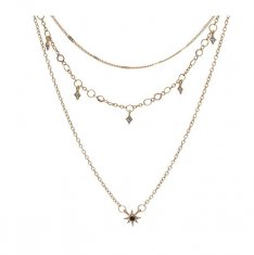 A-QD-N6795 Crystal Spark Charm Three Layer Thin Gold Short