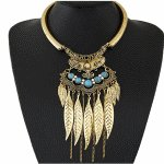 C11010385 Vintage leaves blue beads statement necklace shop