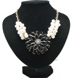 A-Q-Q9155b Black flowery crystals pearl statement necklace whole