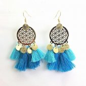 A-SD-EH116402BLUE2 Blue Light Tassel Flower Round Hook Earrings