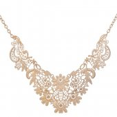 A-SJQ-XL141 Gold Flowery Elegant Statement Necklace Wholesale