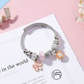 A-MS-K4515 Silver Pink Charm Flower Shell Pearl Charm Bracelet