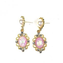 A-TT-E24 Gold Pearl Purple Pink Beads With Glitter Flowery Earri