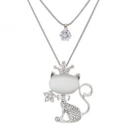 C090621135 Shiny crystals kitten 2 layers long necklace shop