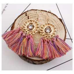 A-SD-XL0326(mixture) Gold Round Pink Mixed Tassel Hook Earrings