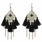 A-YG-SKU4641b Black Geometry Black Tassel Earrings Wholesale