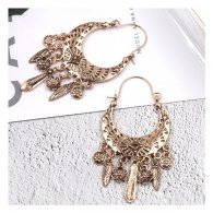 A-HH-HQEF-241(gold) Metal Gold Feather Patterned Earrings Shop