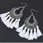 C015080143 White Tassel Arabian Moon Hook Earrings Wholesale