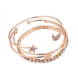 P135777 Elegant Darling Golden Bangle Set Of Crystal Stars
