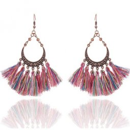 A-KJ-E020960 Spring Colourful Vintage Tassel Hook Earrings