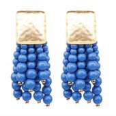 A-SD-XL0742blue Gold Square Dangling Blue Beads Earstuds Shop