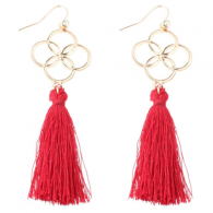 A-DW-HQE647red Red Flower Sign Dangling Tassel Hook Earrings