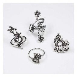 A-FF-001Rose Silver Rose Flora Inspired Rings Set 4 Pieces