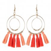 A-KJ-E020425ora Orange Oval Gold Korean Tassel Hook Earrings