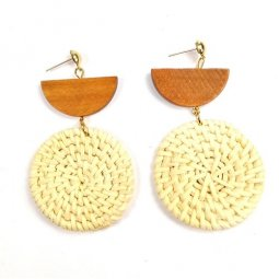 A-JW-x19041237 Brown White Rattan Earrings Circle Malaysia