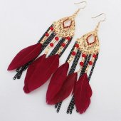 P123798 Maroon Red dangling bead feather earrings malaysia
