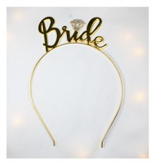 A-BB-300 Gold & Glitter Bride Curvy Writing Wedding Headband