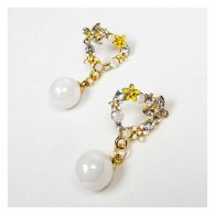 A-QK-0659 Flora Butterfly Crystal Beads & White Bead Korean Earr