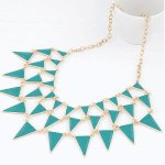 C091226107 Triangle green layers korean statement necklace shop