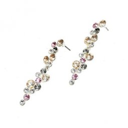 B-MLSF-A236 - Yellow Pink Grey More Diamond Earstuds Earrings