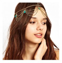 A-GH B-D-blue1 Blue Bead Dangling Bohemian Fashion Headchains