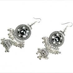 A-DW-HXE052 BLACK AND SILVER DANGLE HOOK EARRINGS