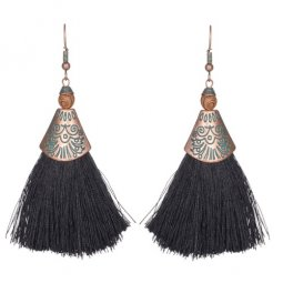 A-KJ-E020265Bl Black Vintage Elegant Dinner Tassel Hook Earrings