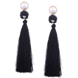 A-QD-E1494bl Black White Bead Tassel Twisted Earstuds Wholesale
