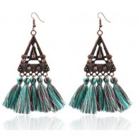 A-hh-HQEF1023 Vintage Tiffany Blue Mixed Tassel Hook Earrings