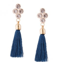 A-QD-E1280 Shiny Crystals Blue Dangling Tassel Earstuds Shop